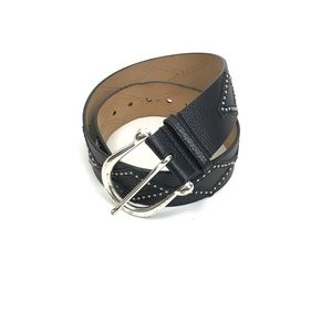 Michael Kors Black Leather Silver Rivet Belt Sm